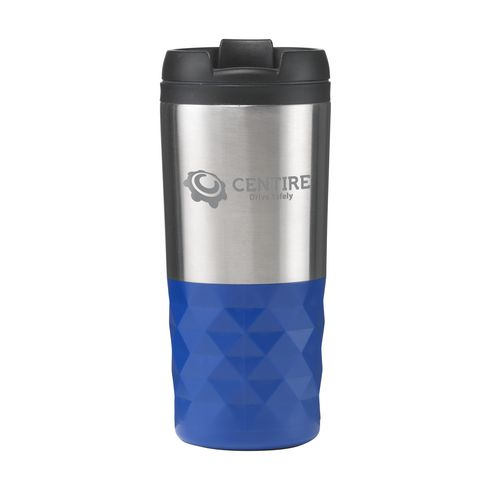 Dubbelwandige RVS design thermosbeker met grip 300 ml blauw