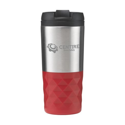 Dubbelwandige RVS design thermosbeker met grip 300 ml rood